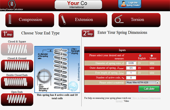spring creator customize your calculator
